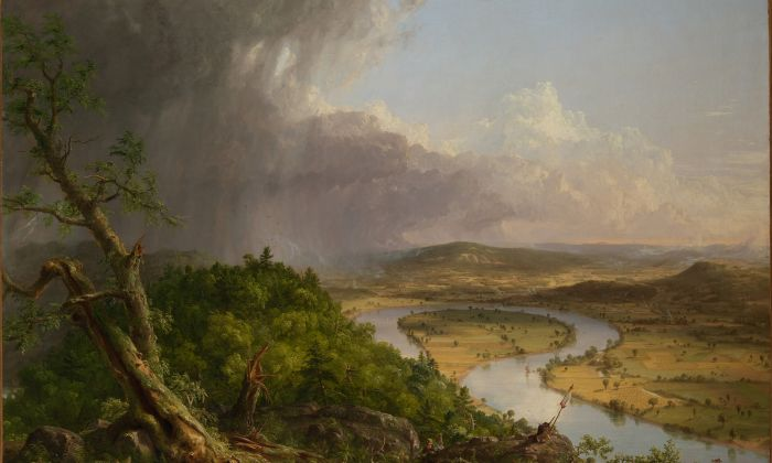 """View From Mount Holyoke, Northhampton, Massachusetts, After a Thunderstorm—The Oxbow"" (detail), 1836 by Thomas Cole (1801–1848). Oil on canvas, The Metropolitan Museum of Art, gift of Mrs. Russell Sage, 1908. (The Metropolitan Museum of Art)"
