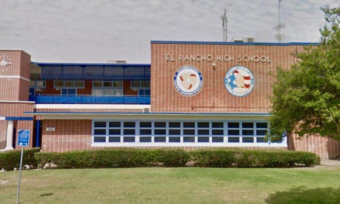 El Rancho High School, in Pico Rivera, where a teacher was secretly recorded giving an anti-military rant. (Screenshot via Google Maps)