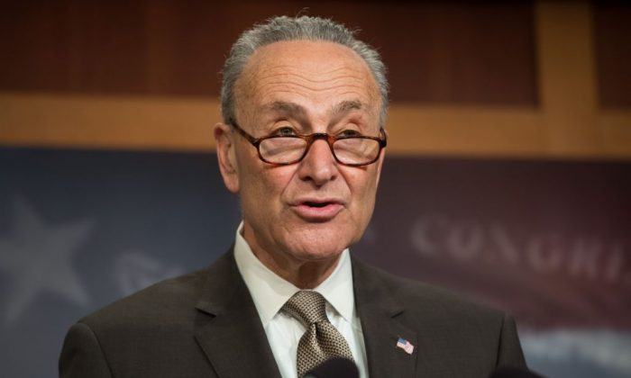 US Senate Minority Leader Chuck Schumer, Democrat of New York, speaks during a press conference at the US Capitol in Washington, DC, March 22, 2018.(SAUL LOEB/AFP/Getty Images)
