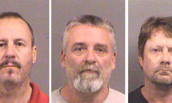 Curtis Allen 49, (L to R), Gavin Wright, 49 and Patrick Eugene Stein, 47 are shown in these booking photos in Wichita, Kansas provided Oct. 15, 2016. (Sedgwick County Sheriff's Office/Handout via Reuters/File Photo)