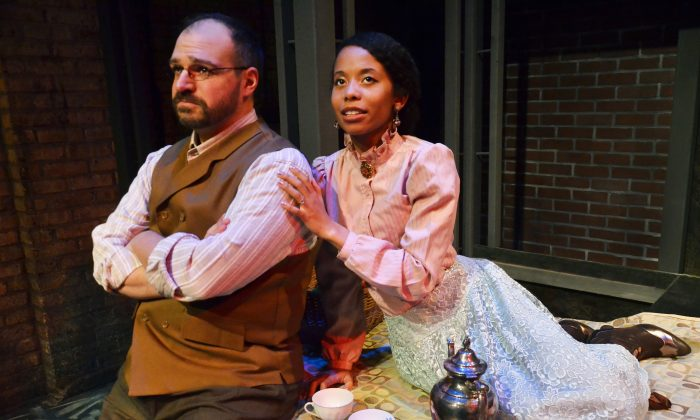 """Dan Granata as Levin and Brandi Lee as Kitty, in Jessica Wright Buha's stage adapation of Leo Tolstoy's """"Anna Karenina."""" Levin, in many ways, is an autobiographical character. (Suzanne Plunkett)"""