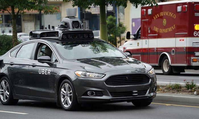 An Uber autonomous vehicle (AV) driving in San Francisco. (Wikimedia Commons)