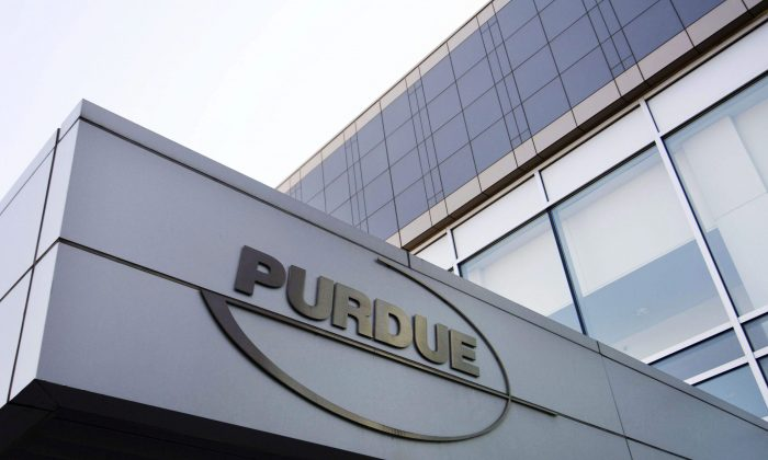 The Purdue Pharma offices in Stamford, Connecticut. In 2007 in the United States, the company pleaded guilty and agreed to pay more than $600 million in fines for misleading the public about the risks of OxyContin. In Canada, Purdue faces just one class-action lawsuit for $20 million. (AP Photo/Douglas Healey, File)
