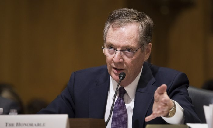 Robert Lighthizer, U.S. trade representative, testifies during a Senate Finance Committee hearing on Capitol Hill in Washington on March 22, 2018. (Samira Bouaou/The Epoch Times)