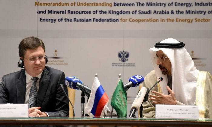 Saudi Arabia's Minister of Energy, Industry and Mineral Resources, Khalid Al-Falih (R) speaks during a press conference with his Russian counterpart Alexander Novak at the Ritz Carlton Hotel in the capital Riyadh on Feb. 14, 2018. (FAYEZ NURELDINE/AFP/Getty Images)