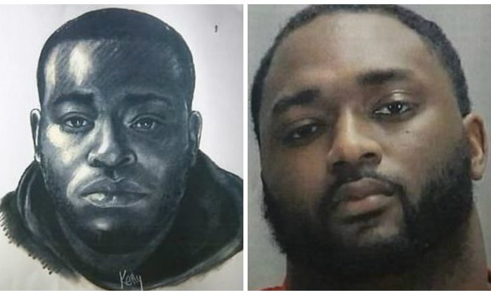 A sketch of a murder suspect in Georgia (L) and Michael De'Sean White, who was arrested and charged with four counts of murder. (Clayton County Police Department)