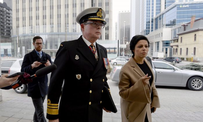Vice-Admiral Mark Norman arrives with his lawyer Marie Henein for his first court appearance on charges of breach of trust in Ottawa on April 10, 2018. (The Canadian Press/Justin Tang)