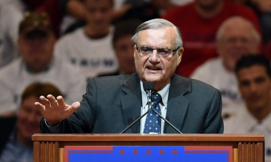 Joe Arpaio, then Maricopa County sheriff in Arizona, speaks during a rally for Republican presidential candidate Donald Trump at the South Point Hotel & Casino on Feb. 22, 2016 in Las Vegas, Nevada. Arpaio is now running for the U.S. Senate in Arizona.  (Ethan Miller/Getty Images)