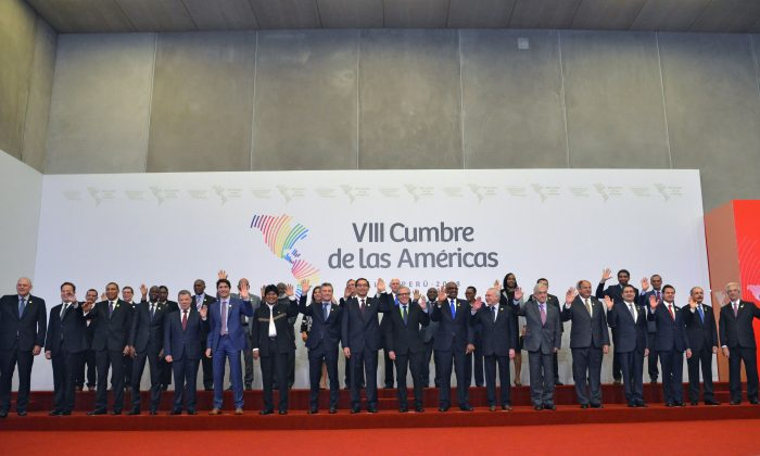 Leaders pose for the family photo of the Eighth Americas Summit in Lima, on April 14, 2018. (CRIS BOURONCLE/AFP/Getty Images)