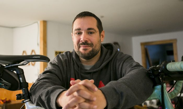Billy Brokschmidt has been in recovery from opioid addiction for two years and now lives in his sister's basement near Dayton, Ohio, on Dec. 8, 2017. (Charlotte Cuthbertson/The Epoch Times)