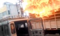 Truck Engulfed in Massive Blaze Drives Through Town—Here's What the Driver Did