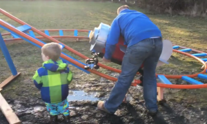Dad builds a roller coaster in his back yard for his son—just wait till you see how it works