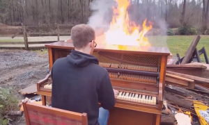 Faced with the task of getting rid of old piano—they decide to do it in the most grand fashion