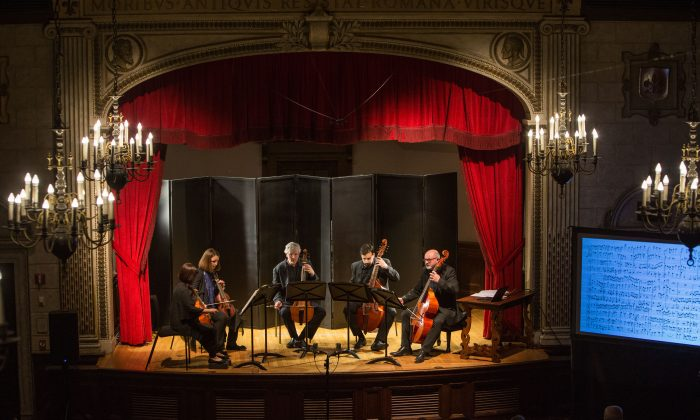 "Fretwork ensemble performs ""The Art of Fugue"" by Johann Sebastian Bach (1685–1750) at an ASPECT Foundation for Music and Arts concert in The Italian Academy of Columbia University in New York on April 12, 2018. (Benjamin Chasteen/The Epoch Times)"