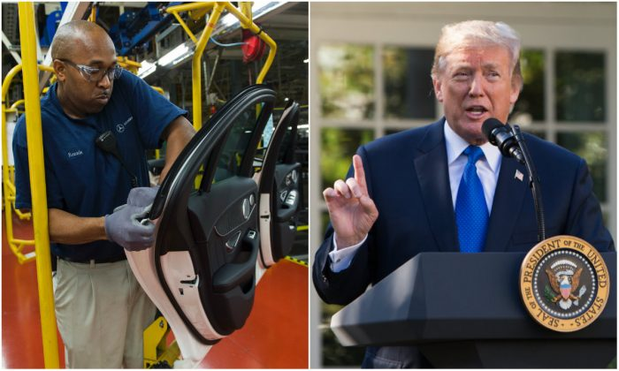 L: An employee at the Mercedes-Benz US International factory in Vance, Ala., on June 8, 2017. (Andrew Caballero-Reynolds/AFP/Getty Images); R: President Donald Trump in the Rose Garden of the White House in Washington, D.C., on Nov. 2, 2017. (Samira Bouaou/The Epoch Times)