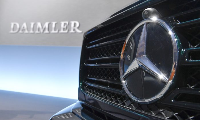 The Mercedes-Benz star is displayed on the front of a Mercedes-Benz G-model at the annual press conference of German auto giant Daimler AG in Stuttgart, southwestern Germany, on February 1, 2018. Chinese carmaker Geely purchased an almost 10 percent stake in Daimler in February. (Thomas Kienzle/AFP/Getty Images)