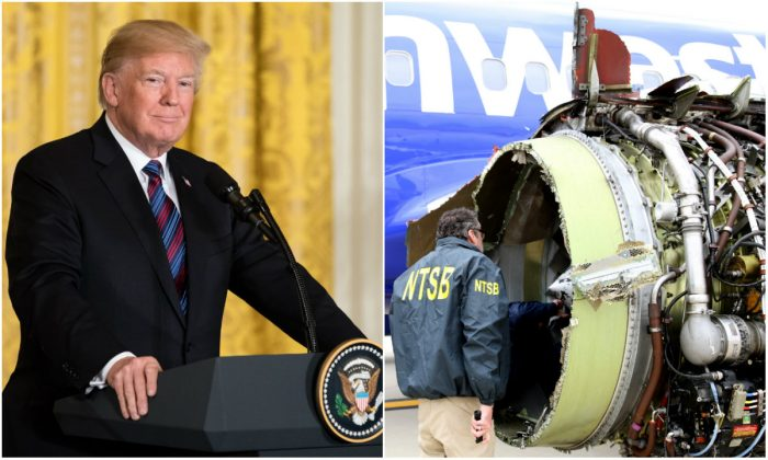 Trump 'very proud' of crew of troubled Southwest flight