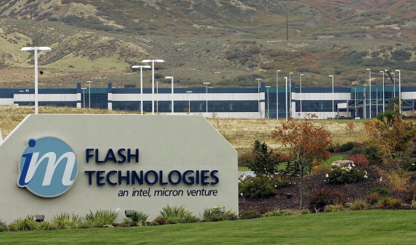 A sign stands outside of the Micron Technology flash memory chip plant in Lehi, Utah.