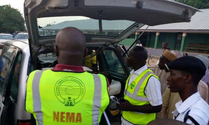 Members of the National Emergency Management Agency (NEMA) evacuate casualties from the site of blasts attack in Mubi, in northeast Nigeria May 1, 2018. (NEMA/Handout via REUTERS.)