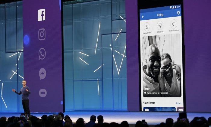 Facebook CEO Mark Zuckerberg speaks about a dating feature at Facebook Inc's annual F8 developers conference in San Jose, California, U.S. May 1, 2018. (Reuters/Stephen Lam)