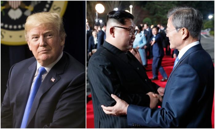 President Donald Trump (Samira Bouaou/Epoch Times) North Korean leader Kim Jong Un and South Korean President Moon Jae-in. ( Korea Summit Press Pool/ AFP/Getty Images)