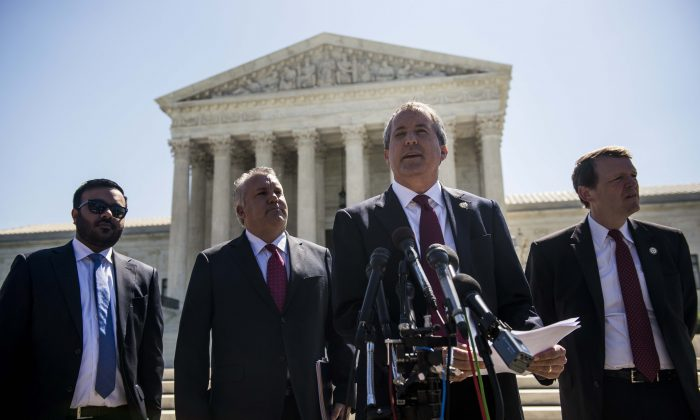 Texas Attorney General Ken Paxton outside the Supreme Court on Capitol Hill in Washington, DC, on June 9, 2016. (Gabriella Demczuk/Getty Images)