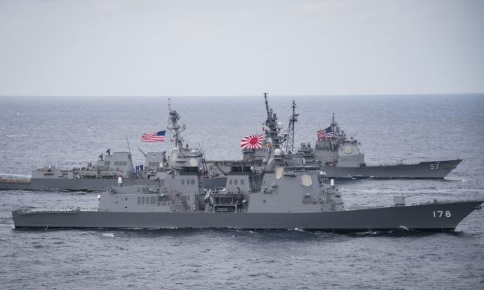 Japan Maritime Self-Defense Force destroyer JS Ashigara (DDG 178), foreground, the Arleigh Burke-class destroyer USS Wayne E. Meyer (DDG 108) and the Ticonderoga-class cruiser USS Lake Champlain (CG 57) transit the Philippine Sea on April 28, 2017. (U.S. Navy photo by Mass Communication Specialist 2nd Class Z.A. Landers)