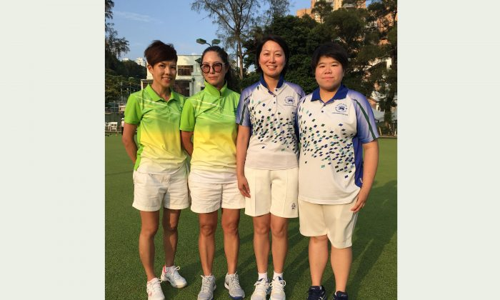 (L-R) Erica Leung and Joanne Leung of Filipino Club will play against Dorothy Yu and Vivian Yip from Hong Kong Football Club in the final of the National Pairs in July1, after prevailed in their semi-finals on Sunday, April 29. (Claudius Lam)