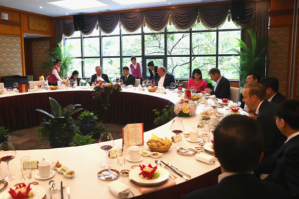 Dinner invited by Zhang Hu, the executive vice mayor of Shenzhen, after the FC Bayern Football School Shenzen press conference at Wuzhou Guest House in Shenzen, China, on July 22, 2017. (Alexander Hassenstein/Bongarts/Getty Images)