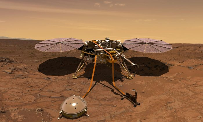The Mars InSight probe is shown in this artist's rendition operating on the surface of Mars, due to lift off from Vandenberg Air Force Base, California, U.S. on May 5, 2018 in this image obtained on May 3, 2018. (NASA/Handout via Reuters/File Photo)
