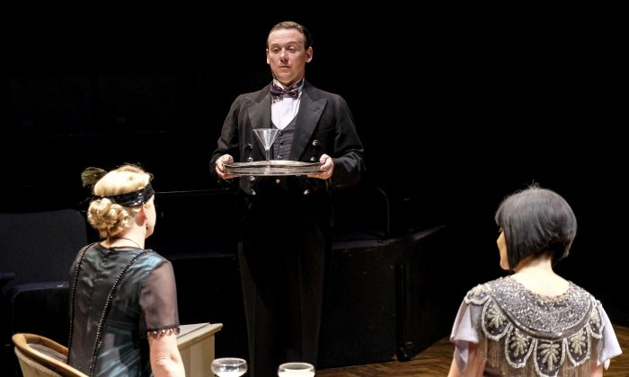 """At the start of """"A Brief History of Women,"""" Antony Eden plays 17-year-old Tony Spates, serving at a party of the wealthy Lady Kirkbridge (Frances Marshall, L) and her daughter (Laura Matthews). (Tony Bartholomew)"""
