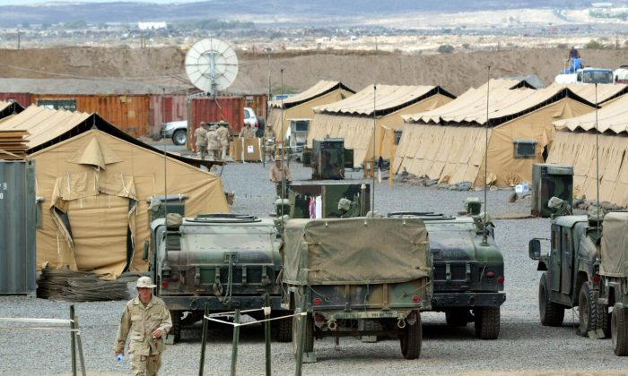 A U.S. marine walks in Camp Lemonier, the U.S. military base in Djibouti, on December 17, 2002. (Pedro Ugarte/AFP/Getty Images)