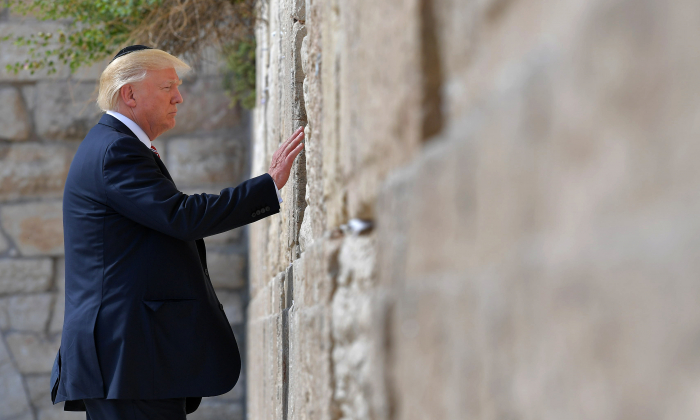 President Donald Trump visits the Western Wall, the holiest site where Jews can pray, in Jerusalem's Old City on May 22, 2017. (MANDEL NGAN/AFP/Getty Images)