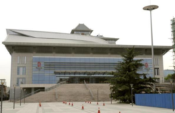 The facade of Peking University Gymnasium in Beijing on May 8, 2008. (LIU JIN/AFP/Getty Images)