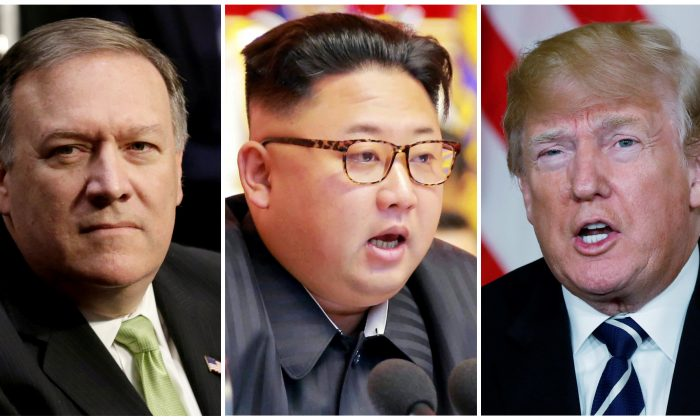 A combination photo shows Mike Pompeo (L) in Washington, North Korean leader Kim Jong Un (C) in Pyongyang, North Korea and U.S. President Donald Trump (R), in Palm Beach, Florida, U.S., respectively. (Reuters/Yuri Gripas (L) & KCNA handout via Reuters & Kevin Lamarque (R))