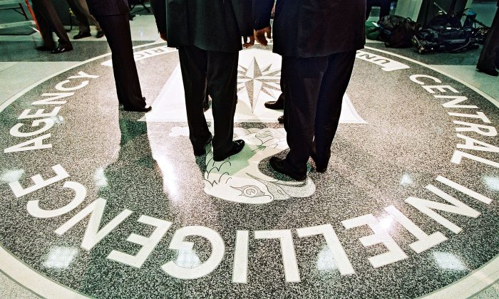 The seal of the Central Intelligence Agency at its headquarters in Langley, Virginia on March 20, 2001. (Pool Photo by David Burnett/Newsmakers)