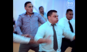 It's couple's wedding, but when all the men get up and do this—watch the bride & groom's expression