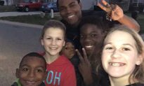 Officer stops car when he sees kids playing outside—that's when he blows his whistle—it happens