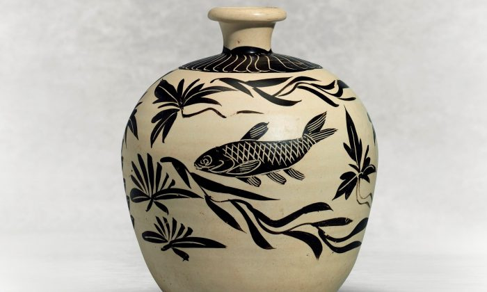 """A  Painted  Cizhou  """"Fish"""" Truncated Meiping, Northern  Sing-Jin  Dynasty  (960-1234).   9 7/8  inches high. The  Linyushanren  Collection. (Christie's)"""