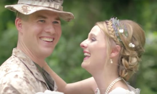 Bride sad that marine brother can't attend wedding. But when she turns around—she's left in tears