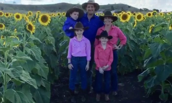 The McNaughton family at their farm in Queensland, Australia. (Courtesy of Lauren and Peter McNaughton)