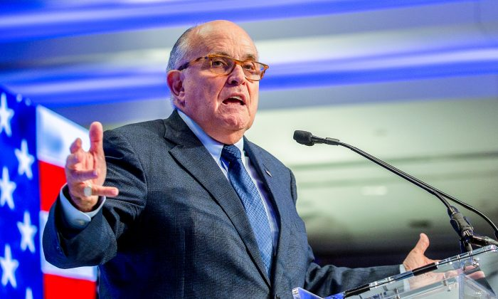 President Donald Trump's lawyer and former Mayor of New York City Rudy Giuliani in Washington, D.C., on May 5, 2018. (Tasos Katopodis/Getty Images)