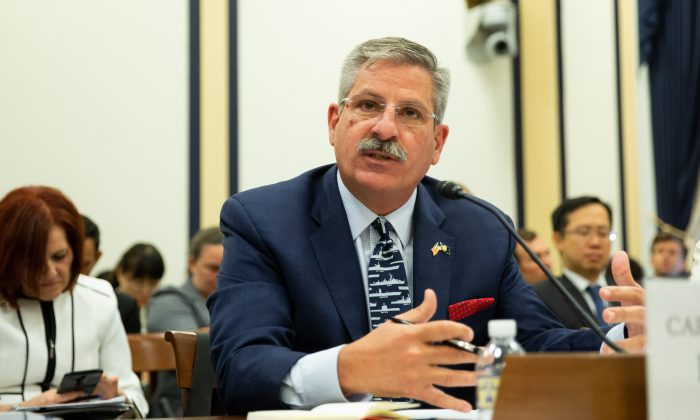 Retired Captain James E. Fanell testifies at a Permanent Select Committee on Intelligence hearing on China's Worldwide Military Expansion at the Rayburn House Office Building at U.S. Congress in Washington on May 17, 2018. (Samira Bouaou/The Epoch Times)