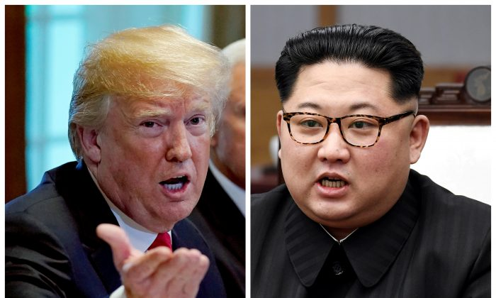 A combination photo shows U.S. President Donald Trump and North Korean leader Kim Jong Un (R) in Washington, DC, U.S. May 17, 2018 and in Panmunjom, South Korea, April 27, 2018 respectively. (Reuters/Kevin Lamarque and Korea Summit Press Pool/File Photos)