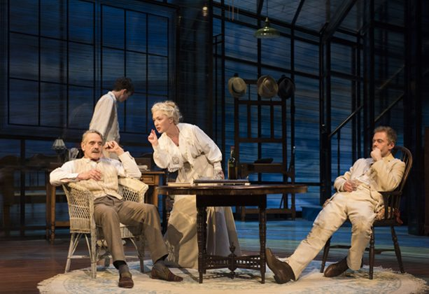 """(L–R) James Tyrone, Sr. (Jeremy Irons), Edmund (Matthew Beard), Mary Tyrone (Lesley Manville), and Jamie (Rory Keenan), a tight knit-family, in Eugene O'Neill's autobiographical """"Long Day's Journey Into Night."""" (Hugo Glendinning)"""