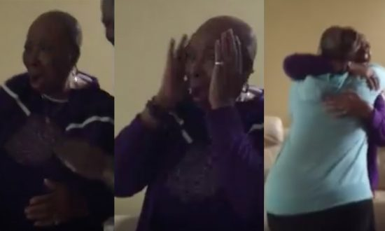 Elderly woman gets a surprise visit, but the scream she lets out—her visitors are in more shock