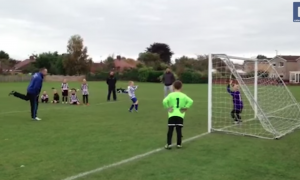 Boy gets practice shot at soccer, but what he hits—you can't help but laugh