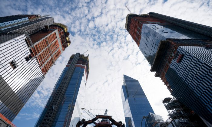 Construction is underway at Hudson Yards in New York on Nov. 2, 2017. Real estate across the country looks to be in bubble territory again. (DON EMMERT/AFP/Getty Images)