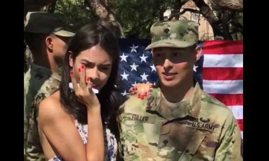 It's soldier's ceremony for reenlistment—but when girlfriend walks onstage—she's met with the truth