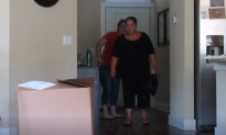 Mom comes home to huge box in kitchen—she's about to kick it—until she notices whats inside